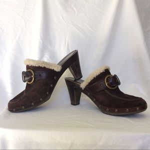 Coach Leather & Suede Heeled Brown Clogs/Mules